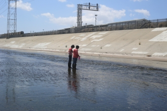 Channelized, concrete-bottomed section of the LA River.
