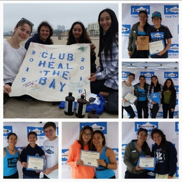 Club Heal the Bay members receive awards and certificates to recognize all their green work this year.