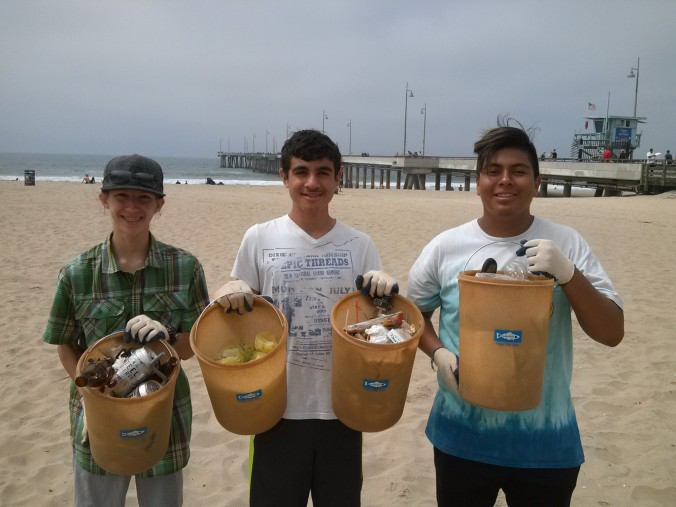 Buckets of Trash from Venice Beach